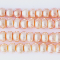 Peach Freshwater Pearls 6mm Button Beads